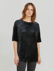 MicroModal oversized velour black T shirt