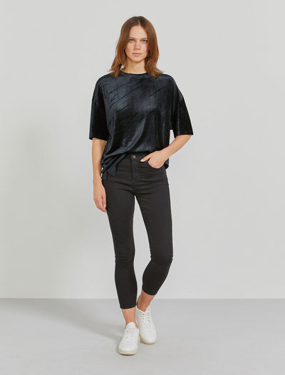 MicroModal oversized velour black T-shirt