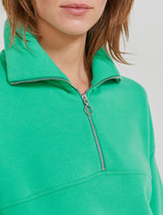 Women's Organic cotton zip-front over sized boy-fit pullover