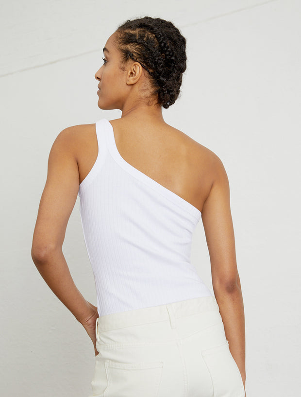 Women's Ribbed organic cotton one shoulder top
