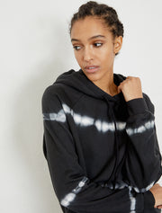 women's Organic cotton black tie-dye boy fit hoodie