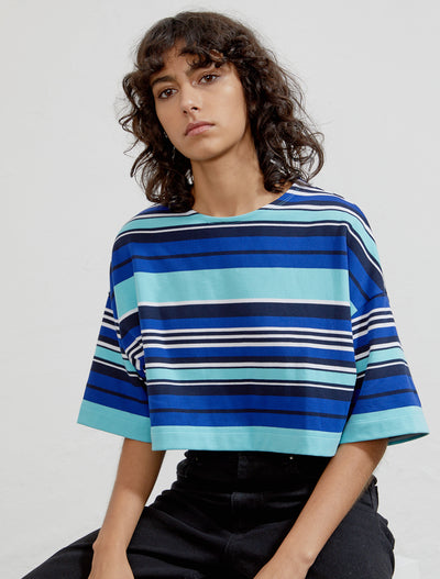 Organic cotton striped cropped women's T-shirt