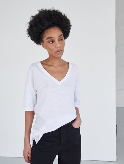 organic cotton slub jersey v neck t shirt