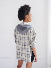 jacquard ls hooded shirt