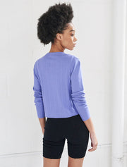 pointelle long sleeve crew neck cardigan