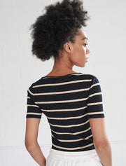organic cotton ribbed striped v neck top