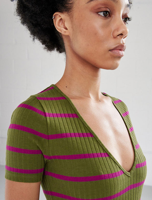 Organic Cotton Ribbed Striped V-Neck Top