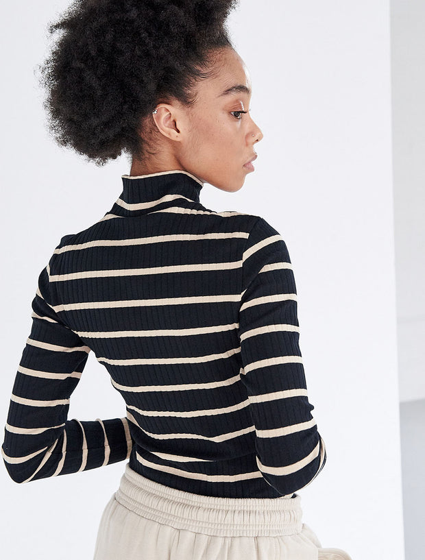 organic cotton ribbed striped roll neck