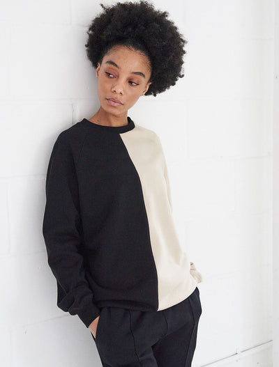 organic cotton two tone crew neck sweat