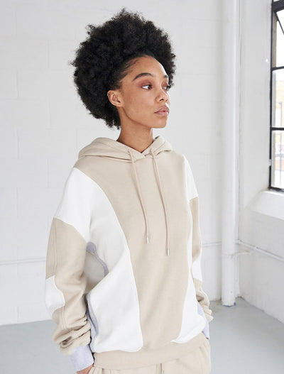 organic cotton multi panel hoodie