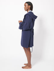 Brushed Organic Cotton Fleece Hooded Dressing Gown