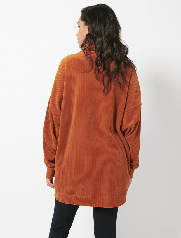 Organic Cotton Corded Velour Funnel Neck Jumbo Sweat