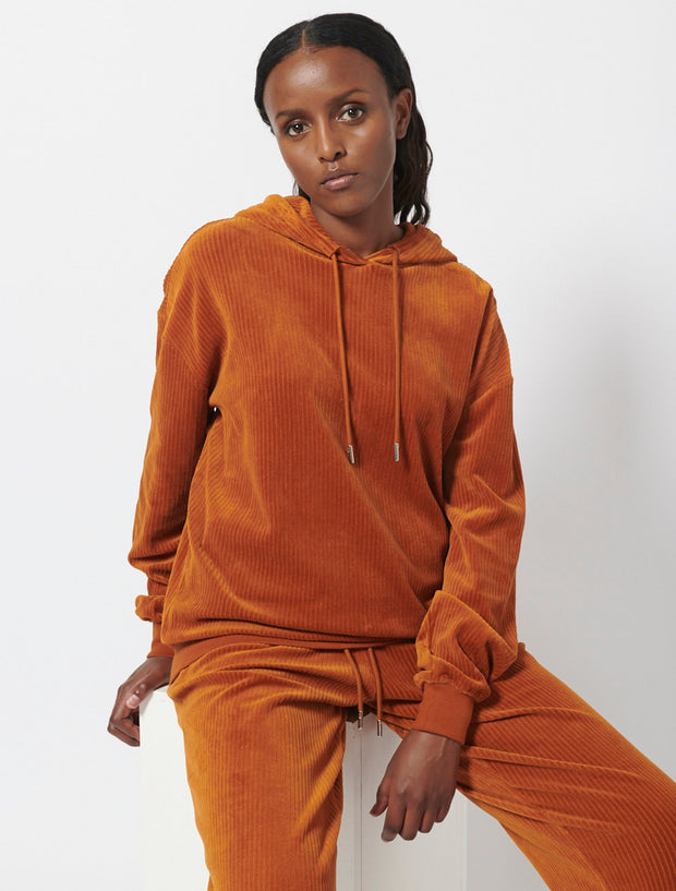 Organic Cotton Corded Velour Hoodie