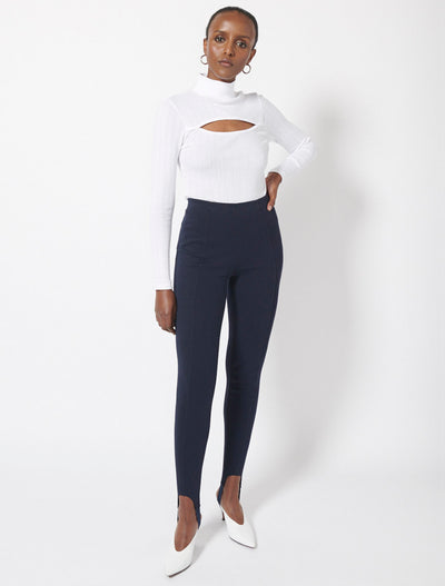 Organic Cotton Pointelle Slash Roll Neck