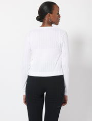 Organic Cotton Pointelle Crew Neck Cardigan