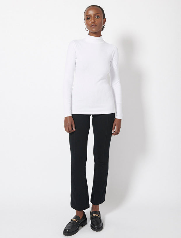 Organic Cotton Rib Roll Neck Top