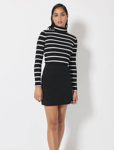 Organic Cotton Rib Stripe Roll Neck Top