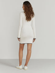 Ribbed-knit contrast-trim dress