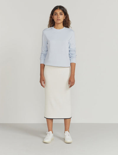 Ribbed-Knit Contrast-Trim Midi Skirt