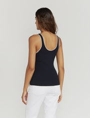 Ribbed-Knit Contrast-Trim Vest