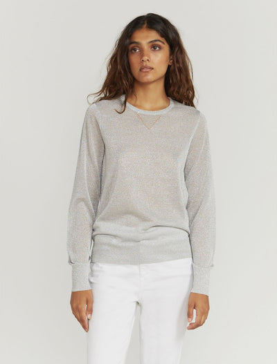 Metallic Knitted Crew-Neck Sweater