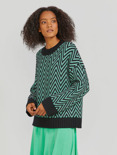 Women's Organic cotton chunky herringbone jade jumper