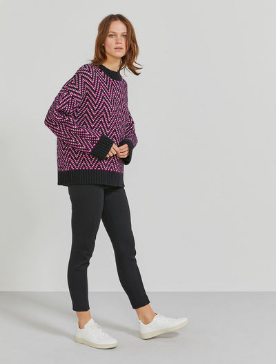 Women's Organic cotton chunky herringbone magenta jumper
