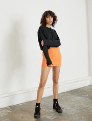 women's orange knitted mini skirt front