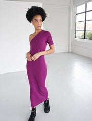 Tencel Ribbed One Shoulder Dress