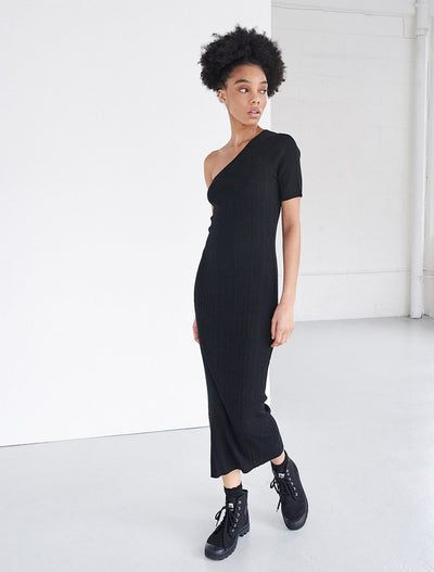 Tencel™ Ribbed One Shoulder Dress