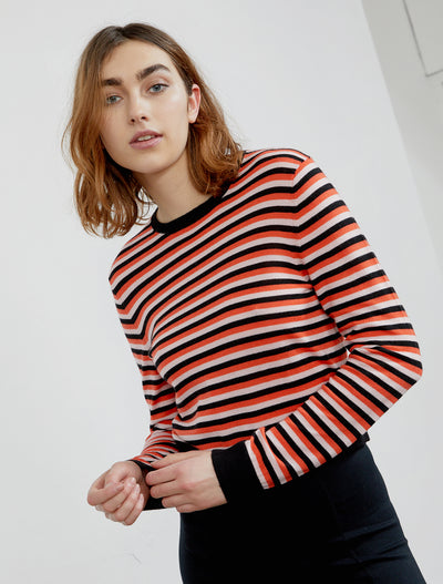 Women's Triple stripe organic Merino wool sweater