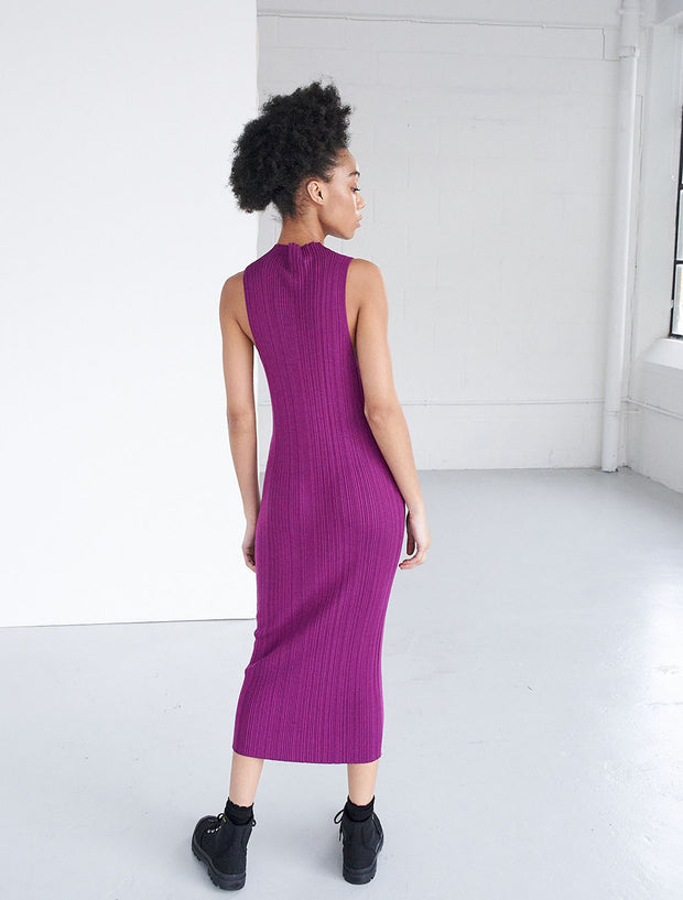 tencel ribbed racer front dress