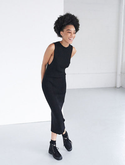 Tencel™ Ribbed Racer Front Dress