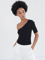 tencel ribbed one shoulder top