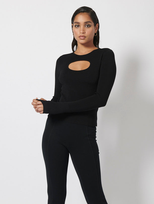 Crew Neck Cut Out Top