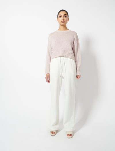 Linen Space Dye Cropped Crew Neck Sweater