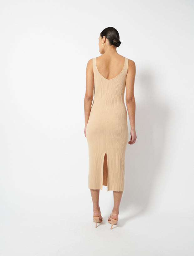 Mock Rib Sleeveless Midi Dress
