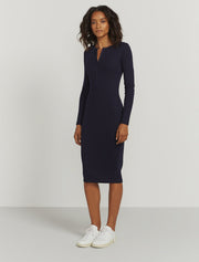women's Organic cotton ribbed button-front dress