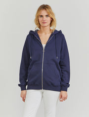 Women's Organic cotton boy fit zip through navy  hoodie