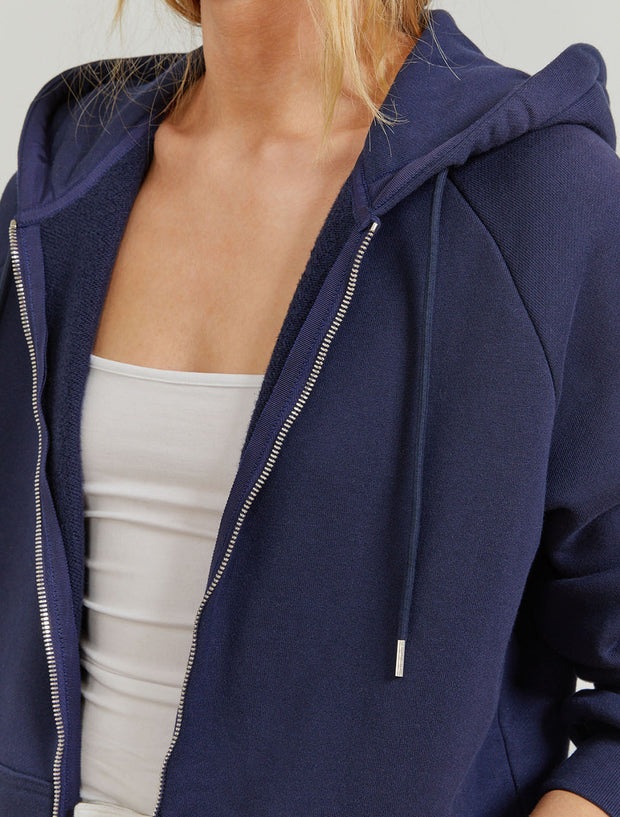 Women's Organic cotton boy-fit zip through navy  hoodie