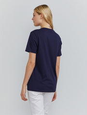 Women's Organic cotton boy-fit navy T-shirt