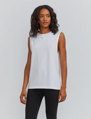 Women's Organic cotton boy-fit white vest