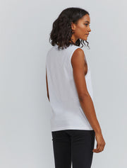 Women's Organic cotton boy fit white vest