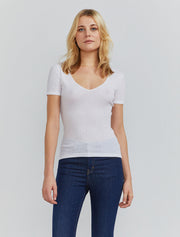 women's Organic cotton ribbed V neck T shirt