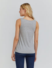 Women's Organic cotton classic fit scoop-neck grey vest