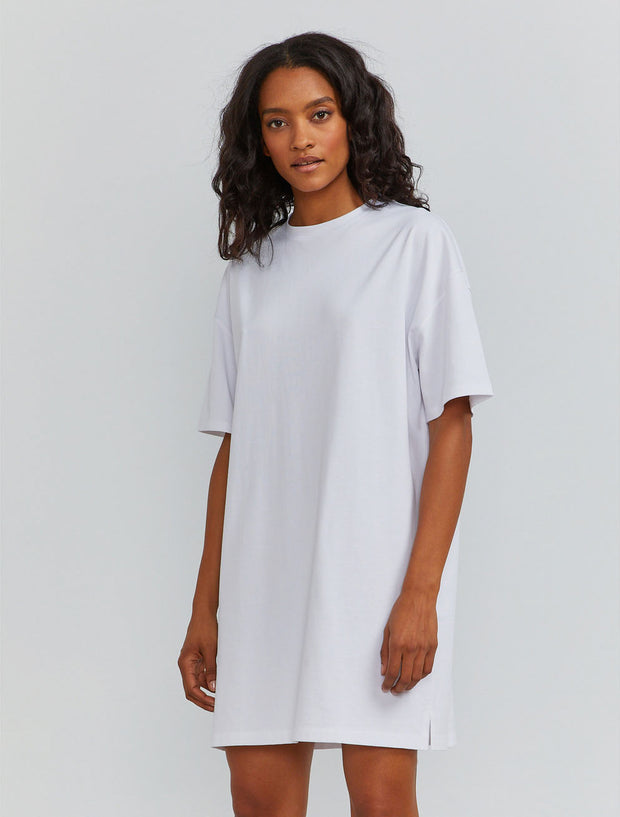 Organic cotton women's oversized T-shirt white dress