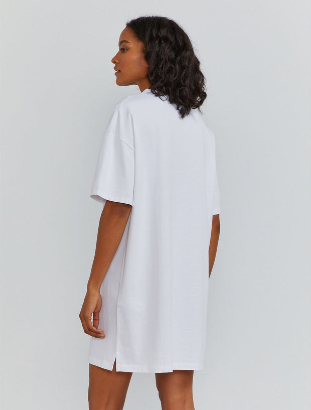 Organic cotton women's oversized T shirt white dress