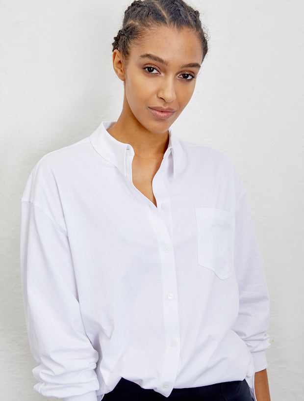 Women's Organic cotton sharp-collar jersey shirt