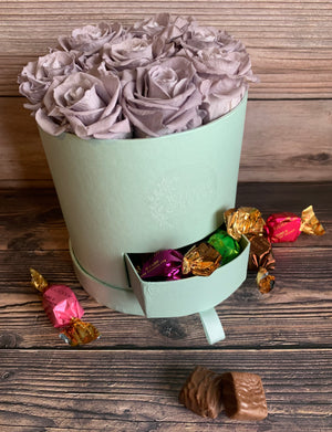 GRAY ROSES IN A FLORAL GIFT BOX