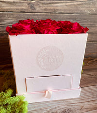 HOT PINK ROSES IN A FLORAL GIFT BOX